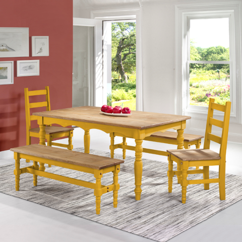 Manhattan Comfort Jay 5-Piece Solid Wood Dining Set with 2 Benches, 2 Chairs, and 1 Table-Dining Table Sets-Manhattan Comfort-YELLOW WASH-bedsville.com