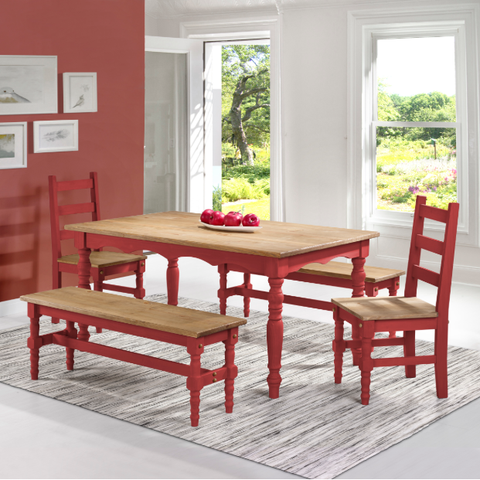 Manhattan Comfort Jay 5-Piece Solid Wood Dining Set with 2 Benches, 2 Chairs, and 1 Table-Dining Table Sets-Manhattan Comfort-RED WASH-bedsville.com