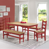 Image of Manhattan Comfort Jay 5-Piece Solid Wood Dining Set with 2 Benches, 2 Chairs, and 1 Table-Dining Table Sets-Manhattan Comfort-RED WASH-bedsville.com