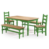 Image of Manhattan Comfort Jay 5-Piece Solid Wood Dining Set with 2 Benches, 2 Chairs, and 1 Table-Dining Table Sets-Manhattan Comfort-BLUE WASH-bedsville.com