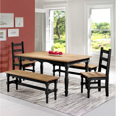 Manhattan Comfort Jay 5-Piece Solid Wood Dining Set with 2 Benches, 2 Chairs, and 1 Table-Dining Table Sets-Manhattan Comfort-BLACK WASH-bedsville.com