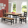Image of Manhattan Comfort Jay 5-Piece Solid Wood Dining Set with 2 Benches, 2 Chairs, and 1 Table-Dining Table Sets-Manhattan Comfort-BLACK WASH-bedsville.com