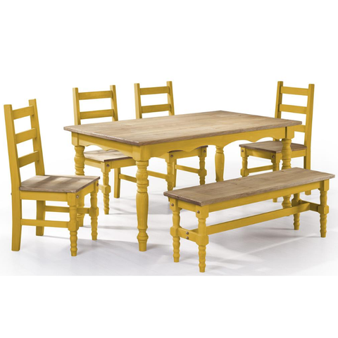 Manhattan Comfort Jay 6-Piece Solid Wood Dining Set with 1 Bench, 4 Chairs, and 1 Table-Dining Table Sets-Manhattan Comfort-YELLOW WASH-bedsville.com