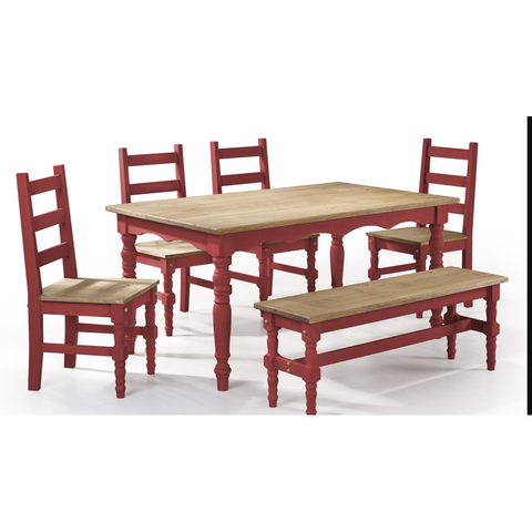 Manhattan Comfort Jay 6-Piece Solid Wood Dining Set with 1 Bench, 4 Chairs, and 1 Table-Dining Table Sets-Manhattan Comfort-RED WASH-bedsville.com