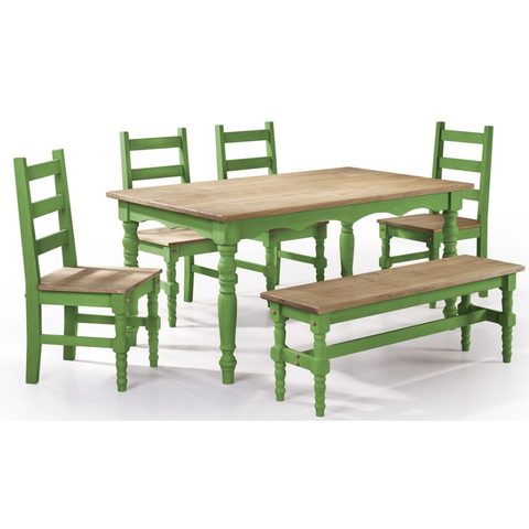 Manhattan Comfort Jay 6-Piece Solid Wood Dining Set with 1 Bench, 4 Chairs, and 1 Table-Dining Table Sets-Manhattan Comfort-GREEN WASH-bedsville.com