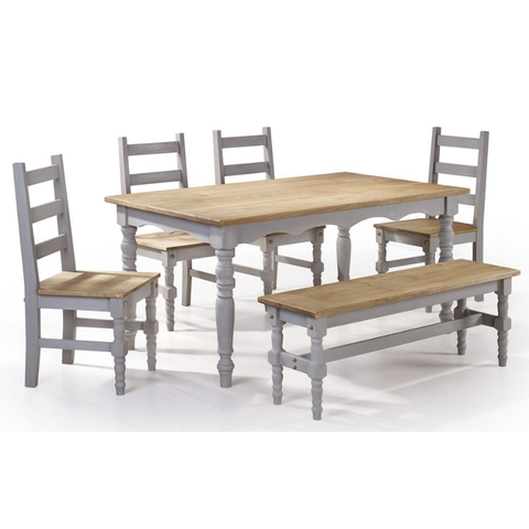 Manhattan Comfort Jay 6-Piece Solid Wood Dining Set with 1 Bench, 4 Chairs, and 1 Table-Dining Table Sets-Manhattan Comfort-GREY WASH-bedsville.com
