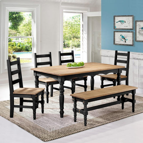 Manhattan Comfort Jay 6-Piece Solid Wood Dining Set with 1 Bench, 4 Chairs, and 1 Table-Dining Table Sets-Manhattan Comfort-BLACK WASH-bedsville.com