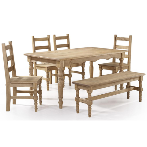 Manhattan Comfort Jay 6-Piece Solid Wood Dining Set with 1 Bench, 4 Chairs, and 1 Table-Dining Table Sets-Manhattan Comfort-BLUE WASH-bedsville.com