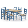 Image of Manhattan Comfort Jay Dining Set 3.0-Dining Table Sets-Manhattan Comfort-BLUE WASH-bedsville.com