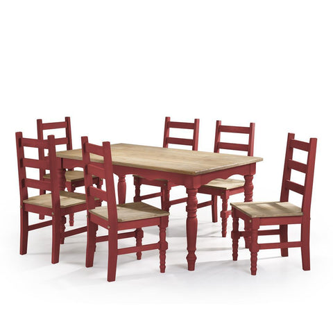 Manhattan Comfort Jay Dining Set 3.0-Dining Table Sets-Manhattan Comfort-RED WASH-bedsville.com