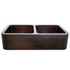 Image of Whitehaus Copperhaus WH3621COFCD-OBH Double Bowl Sink with Front Apron-Copper Sinks-Whitehaus-bedsville.com