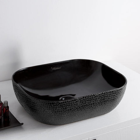 Whitehaus Isabella Plus Rectangle Black Above Mount Bathroom Basin-Above Mount Sinks-Whitehaus-bedsville.com