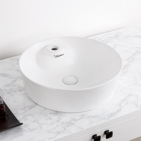 Whitehaus Isabella Plus Rectangle White Above Mount Bathroom Basin-Above Mount Sinks-Whitehaus-bedsville.com