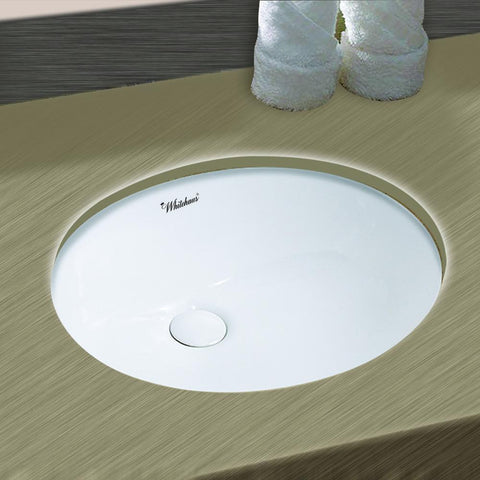Whitehaus Isabella Plus WHU71001 Oval Undermount Basin Sink-Undermount Bathroom Sinks-Whitehaus-bedsville.com