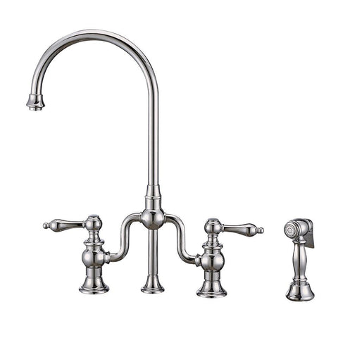 Whitehaus Twisthaus Plus WHTTSLV3-9773-NT-C Bridge Faucet-Kitchen Widespread Faucets-Whitehaus-bedsville.com