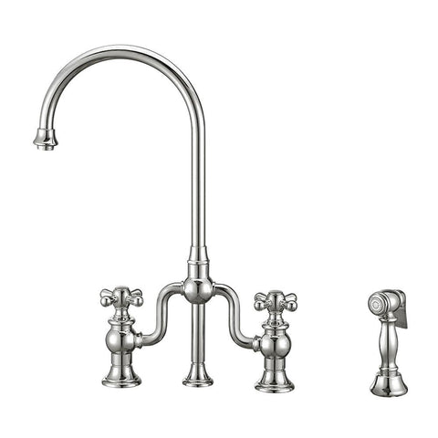 Whitehaus Twisthaus WHTTSCR3-9773-NT-C Plus Bridge Faucet-Kitchen Widespread Faucets-Whitehaus-bedsville.com
