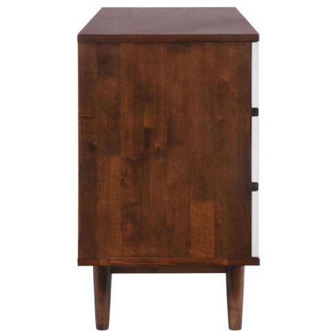 Zuo Modern LA 6-Drawer Walnut and White Dresser and Chest-Dressers-Zuo Modern-bedsville.com