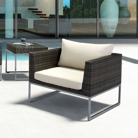 Zuo Modern Malibu Brown and Beige 703836 Arm Chair-Arm Chairs-Zuo Modern-bedsville.com