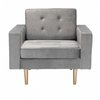 Image of Zuo Modern Puget Gray Velvet 101172 Arm Chair-Arm Chairs-Zuo Modern-bedsville.com