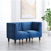 Image of Zuo Modern Raven Blue Velvet 101139 Corner Chair-Accent Chairs-Zuo Modern-bedsville.com