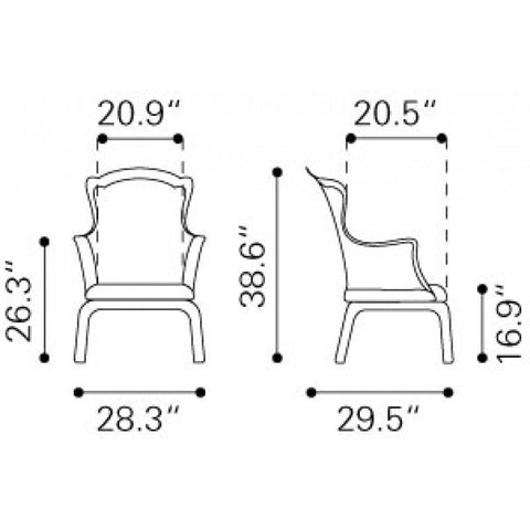 Zuo Modern Vision Transparent 110030 Chair-Accent Chairs-Zuo Modern-bedsville.com