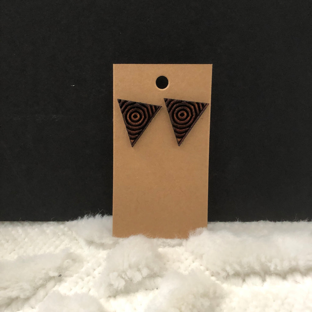 Target Inside Triangle Wooden Earrings