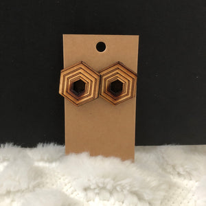 Hexagon Inside a Hexagon Wooden Earrings