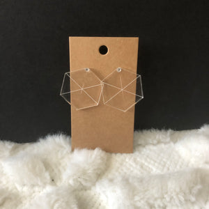 Hexagon Clear Earrings