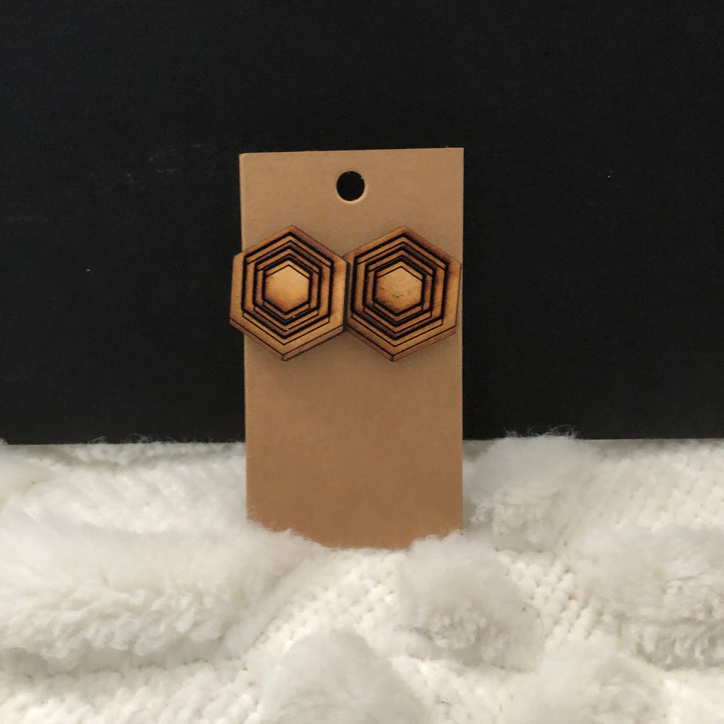 3D Hexagon Wooden Earrings