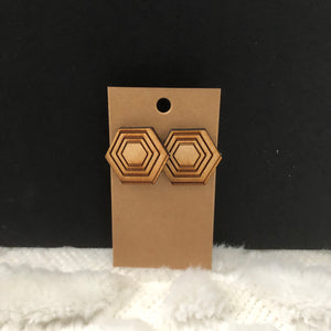 Hexagon Wood Earrings