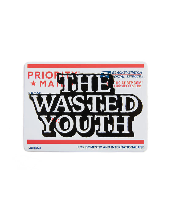 Wasted Youth PRIORITY LABEL STICKER