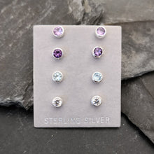 Load image into Gallery viewer, Sterling Silver Stud Earrings with 4.5mm Gemstone