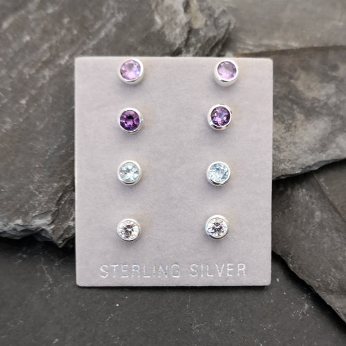 Sterling Silver Stud Earrings with 4.5mm Gemstone