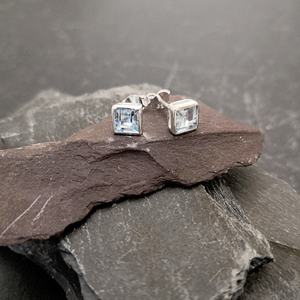 Sterling Silver Stud Earrings with 6mm Square Gemstone
