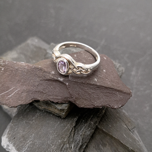 Celtic Style Silver Ring with Amethyst