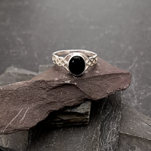 Celtic Style Silver Ring with Black Onyx