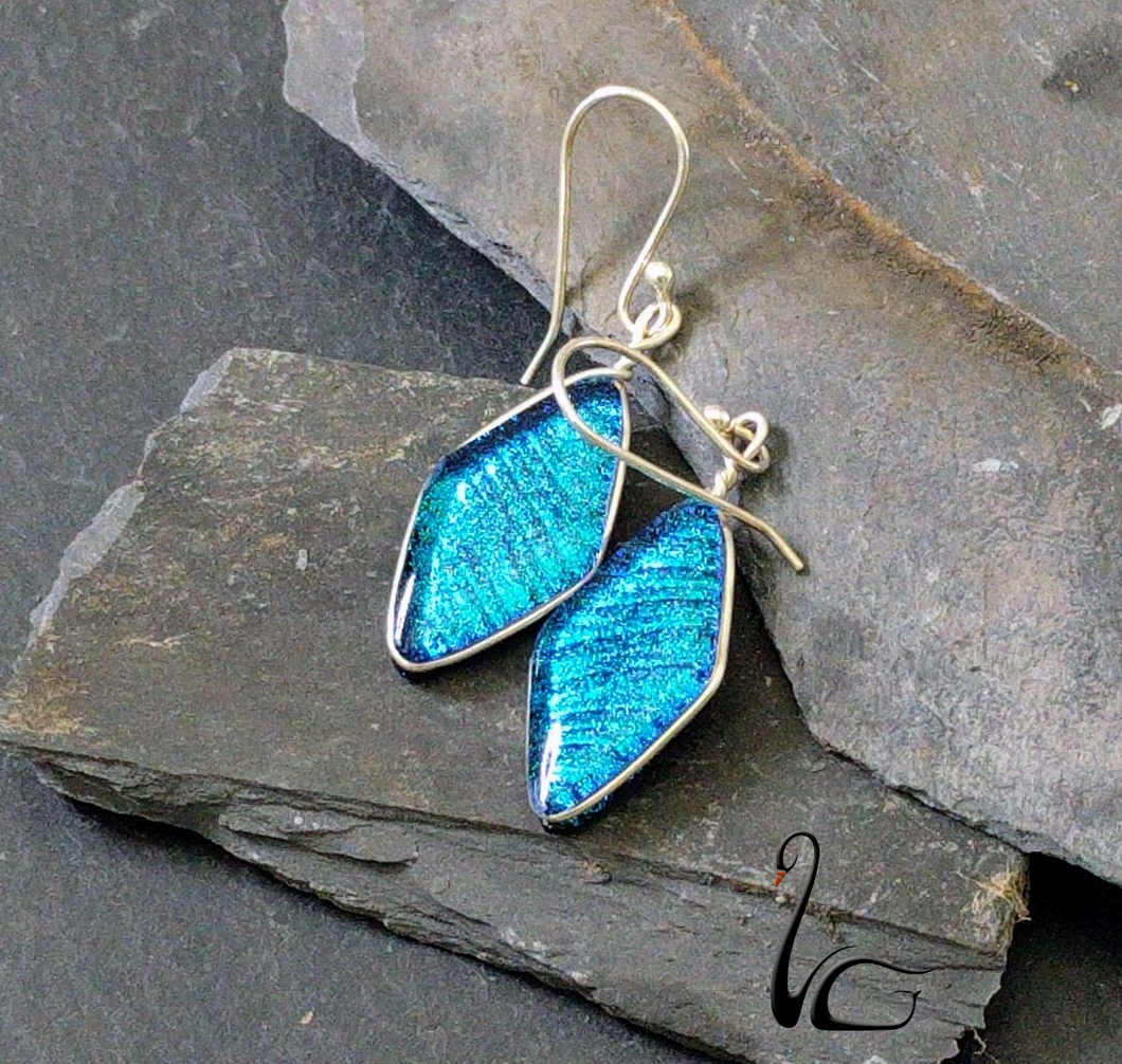 Handmade Dichroic Glass Earrings 3 Front