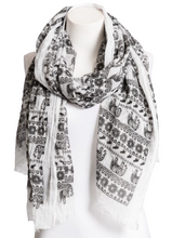 Load image into Gallery viewer, Beautiful Black & White Lightweight Elephant Scarf