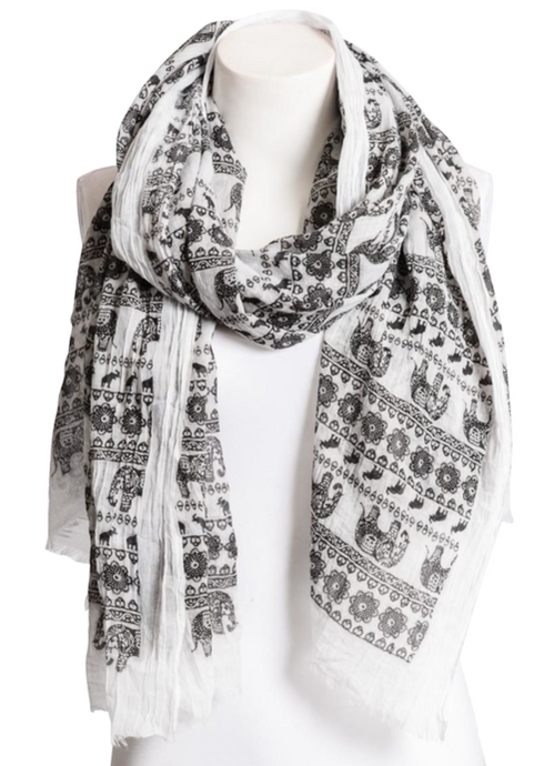 Beautiful Black & White Lightweight Elephant Scarf