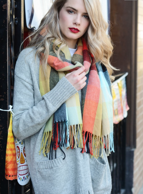 Fall Mix Blanket Tassel Scarf