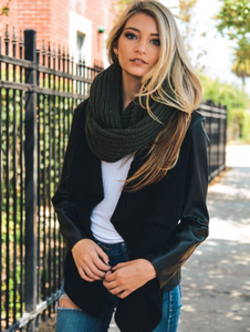 Beautiful Olive Chunky Braided Infinity Scarf