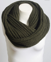Load image into Gallery viewer, Beautiful Olive Chunky Braided Infinity Scarf