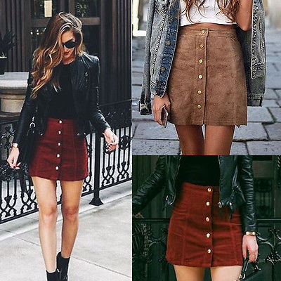 Women's Apparel Suede Leather Skirt 90's Vintage High Waist