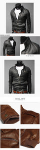 Men's PU Leather Jacket Collar British version