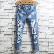 Load image into Gallery viewer, Men's Ripped Hole Designed Jeans