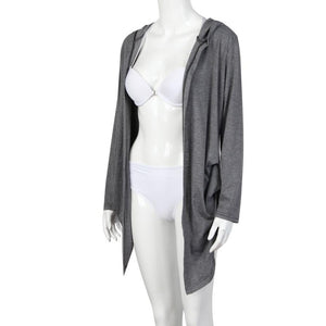 Women's Grey Long Sleeve Thin Coats