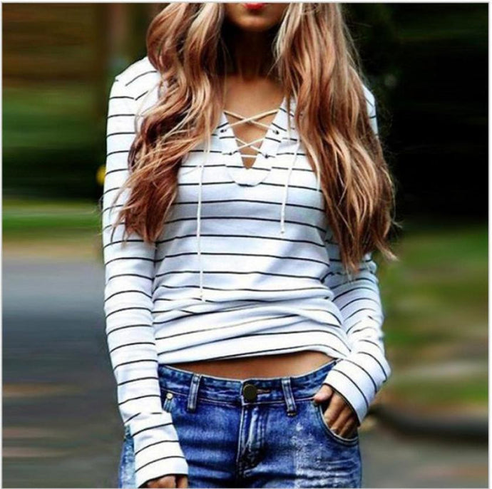 Women's White T-Shirt Stripe Long Sleeve Sexy V-neck
