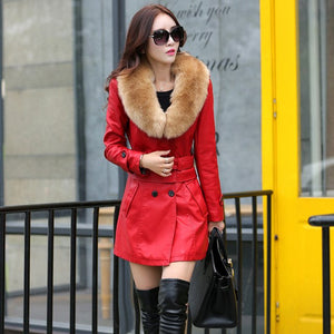 Women's Long Leather Jacket Big Fur Collar
