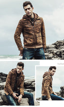 Load image into Gallery viewer, Men's Real Leather Jacket Detachable Hooded