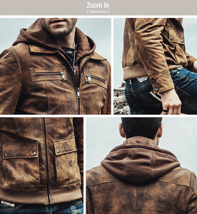 Men's Real Leather Jacket Detachable Hooded